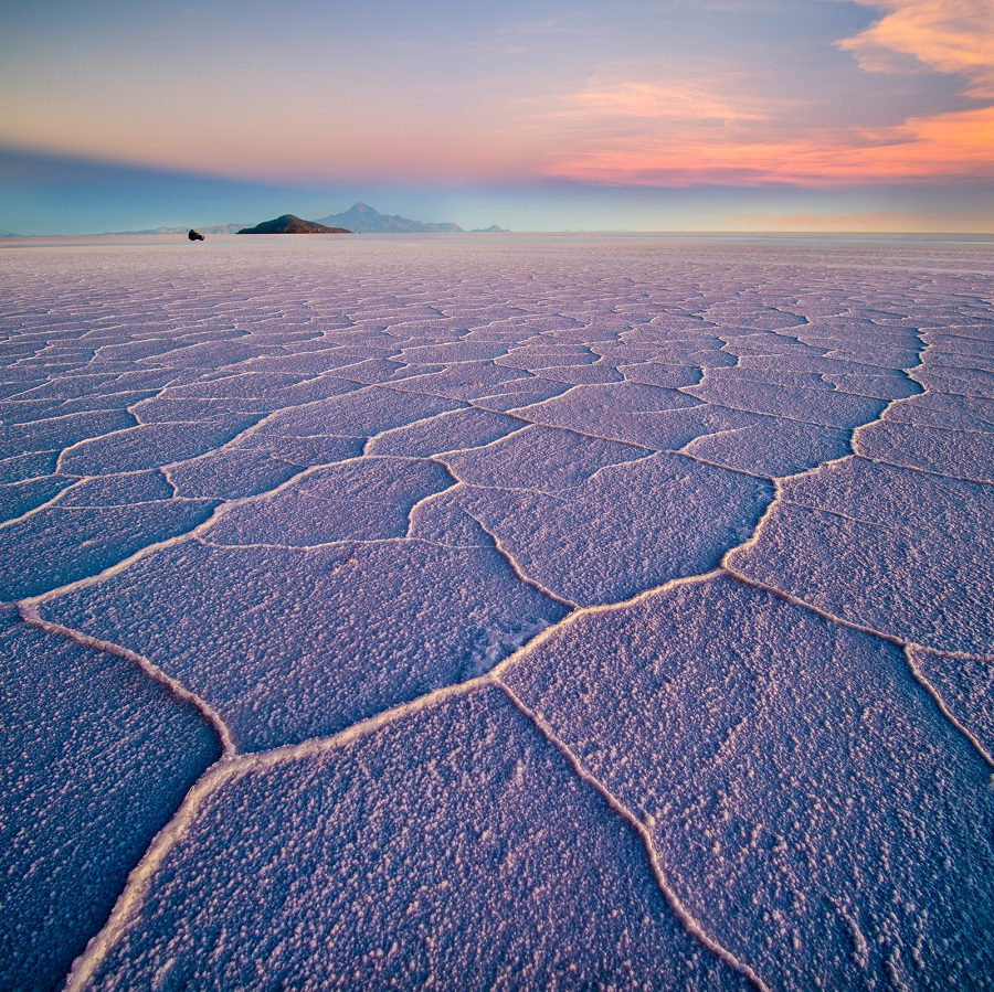 Salar de Uyuni hexagons at sunset