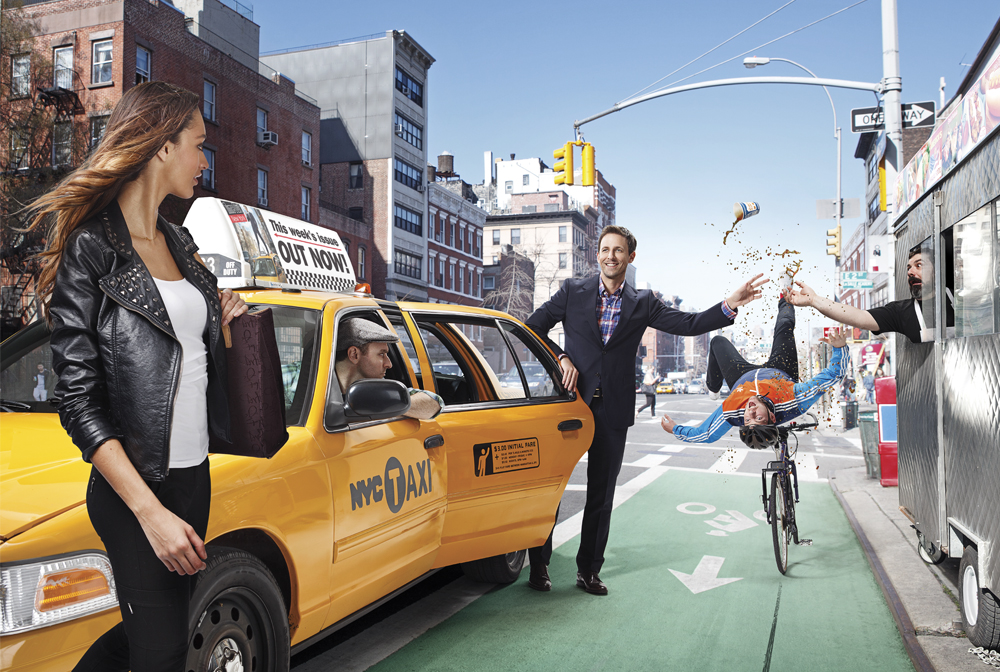 SNL's Seth Meyers photographed on the streets on New York City by Photographer Dale May.