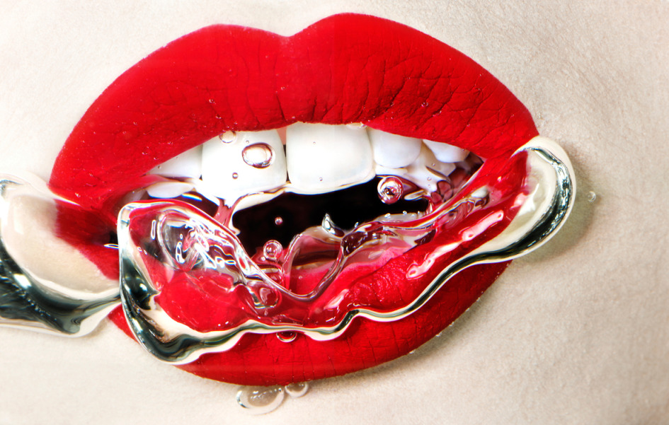Liquids photography, cosmetics photography, beauty, mouth, underwater, make up, lipstick, red