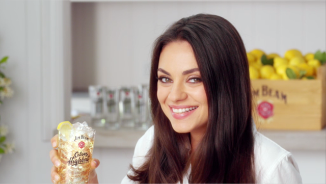 actress mila kunis for jim beam