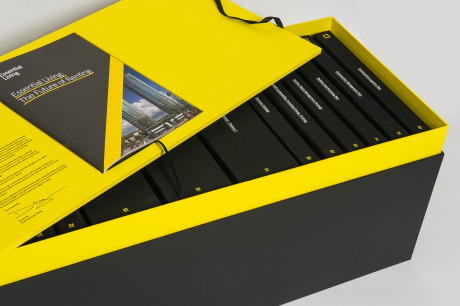 A bespoke box and contents for an Essential Living planning submission gallery