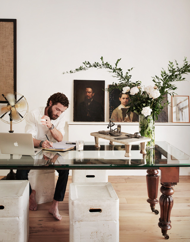 Designer Enis Karavil for In Style, at home in Notting Hill gallery