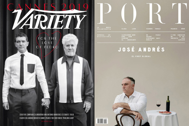 Left: Pedro Almodovar & Antonio Banderas by Nico Bustos for Variety / Right: José Andrés by Javier Salas for PORT gallery