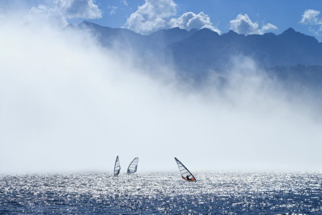 Windsurfing in the fog, Walchensee gallery