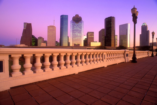 Subject: Houston skyline at dusk from the Sabine Bridge gallery
