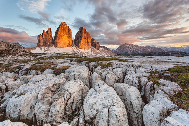 Location: Italy, Dolomites, Tre Cime di Lavaredo at sunset gallery